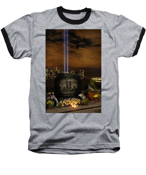 9-11 Monument Baseball T-Shirt by Dave Mills