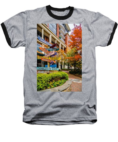 Charlotte City Skyline Autumn Season Baseball T-Shirt