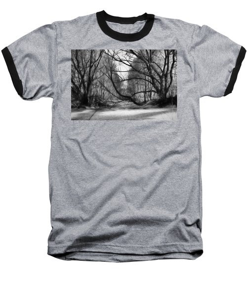 Baseball T-Shirt featuring the photograph 9 Black And White Artistic Painterly Icy Entrance Blocked By Braches by Leif Sohlman