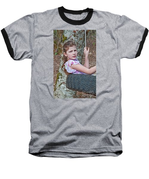 9 Year Old Caucasian Girl In Tire Swing Baseball T-Shirt