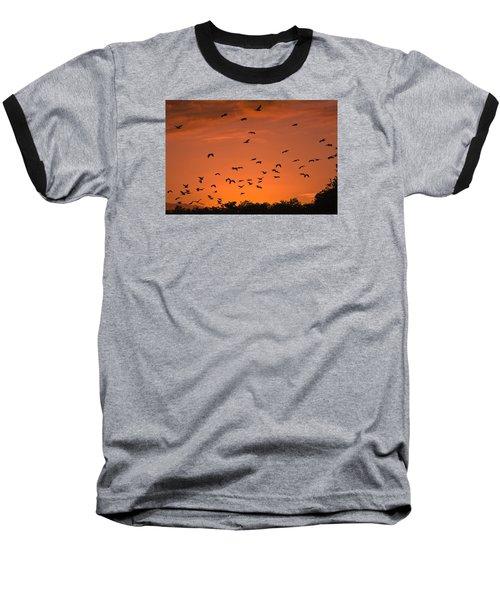 Birds At Sunset Baseball T-Shirt