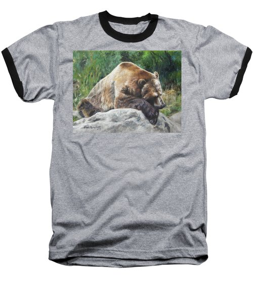 A Bear Of A Prayer Baseball T-Shirt by Lori Brackett