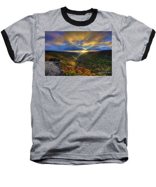 A Blue And Gold Sunset Baseball T-Shirt by Dan Friend