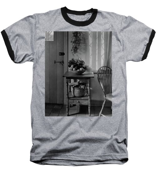 A Bowl Of Vegetables On A Table Baseball T-Shirt