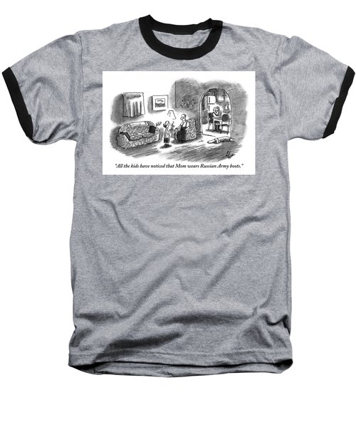 A Boy Talks To His Father In The Living Room Baseball T-Shirt