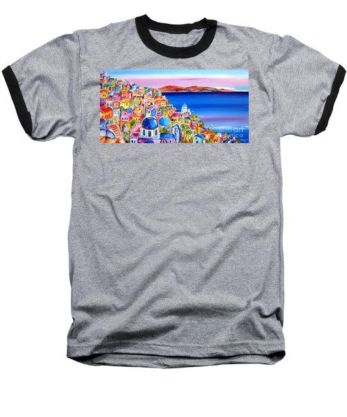 A Bright Day In Santorini Greece Baseball T-Shirt