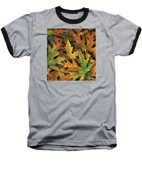 Baseball T-Shirt featuring the painting A Carpet Of  Falling Leaves by Dragica  Micki Fortuna