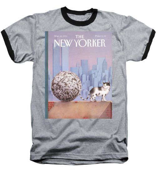 A Cat With A Ball Of String For A Tail Baseball T-Shirt