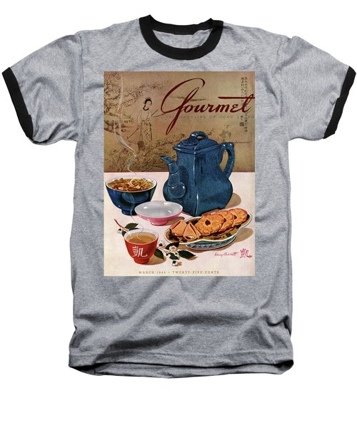 A Chinese Tea Pot With Tea And Cookies Baseball T-Shirt