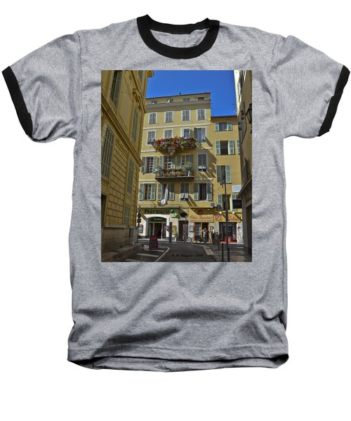 Baseball T-Shirt featuring the photograph A Corner In Nice by Allen Sheffield
