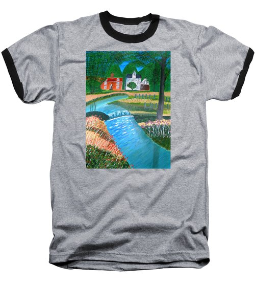 Baseball T-Shirt featuring the painting A Country Stream by Magdalena Frohnsdorff