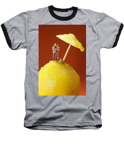 Baseball T-Shirt featuring the painting A Couple In Lemon Rain Little People On Food by Paul Ge