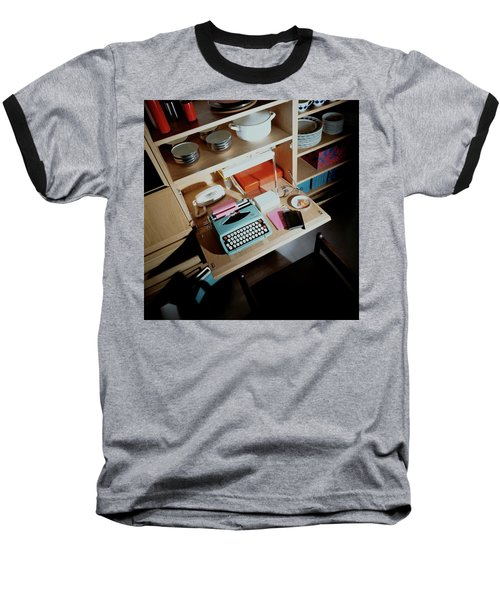 A Cupboard With A Blue Typewriter Baseball T-Shirt