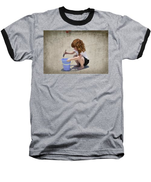 A Day At The Beach Baseball T-Shirt by Charles Beeler