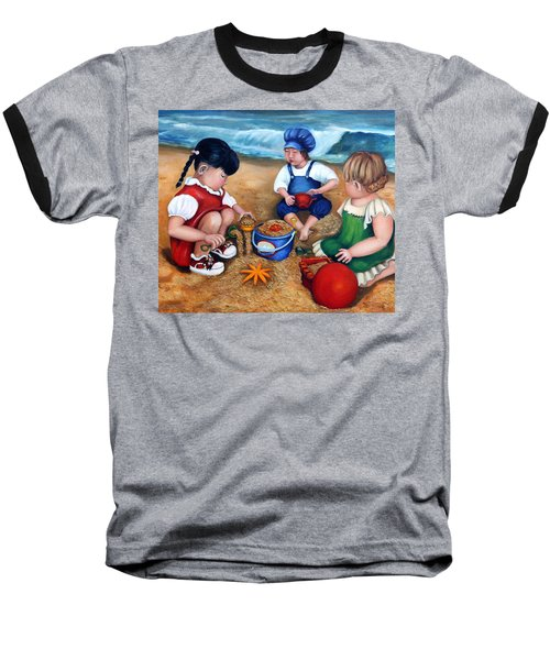 A Day At The Beach  Baseball T-Shirt by Enzie Shahmiri