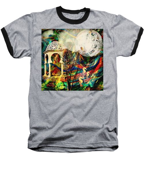 Baseball T-Shirt featuring the mixed media A Day In The Park by Ally  White
