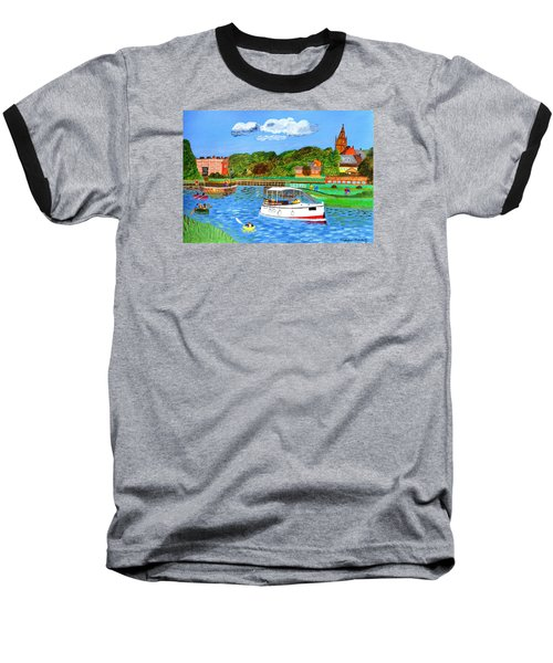 Baseball T-Shirt featuring the painting A Day On The River by Magdalena Frohnsdorff