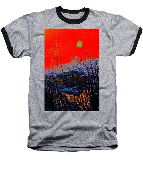 A Digital Marina Sunset Baseball T-Shirt