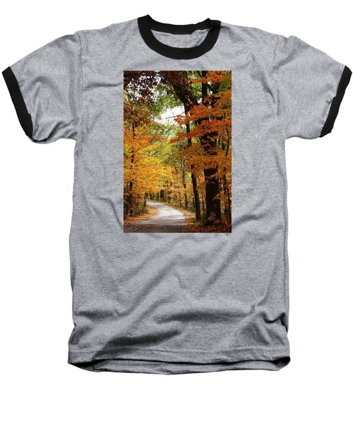 Baseball T-Shirt featuring the photograph A Drive Through The Woods by Bruce Bley