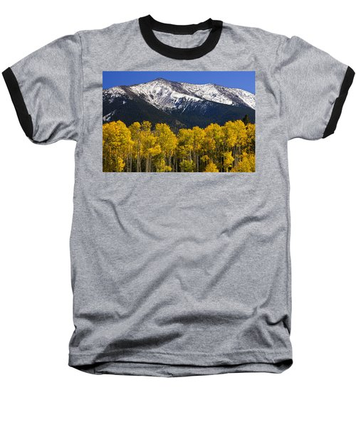 A Dusting Of Snow On The Peaks Baseball T-Shirt by Saija  Lehtonen
