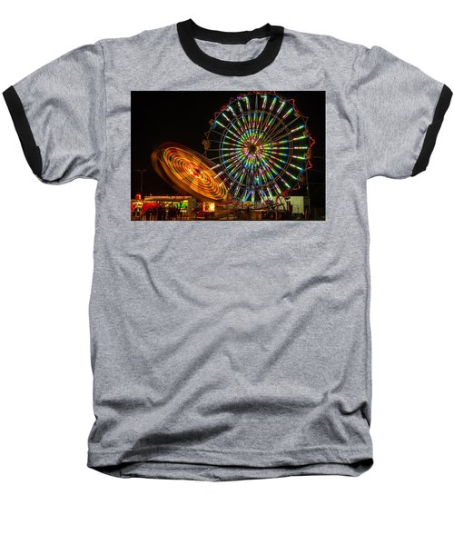 Baseball T-Shirt featuring the photograph Colorful Carnival Ferris Wheel Ride At Night by Jerry Cowart