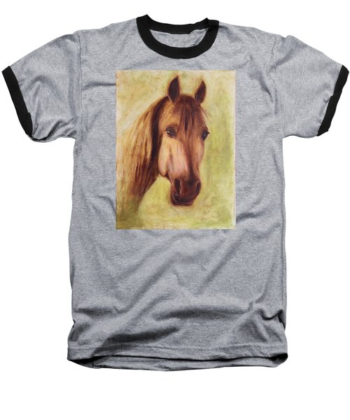 Baseball T-Shirt featuring the painting A Fine Horse by Xueling Zou