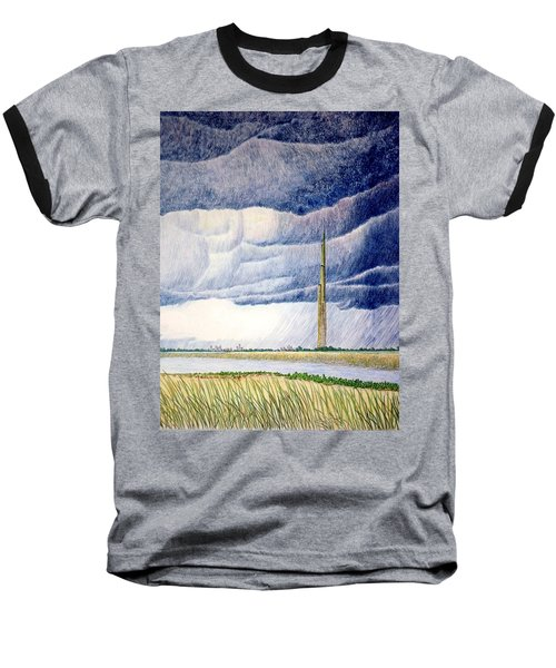 Baseball T-Shirt featuring the painting A Finger To The Sky by A  Robert Malcom