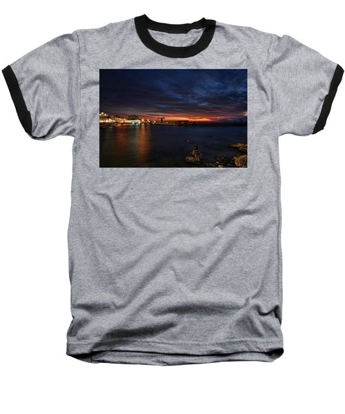 Baseball T-Shirt featuring the photograph a flaming sunset at Tel Aviv port by Ron Shoshani