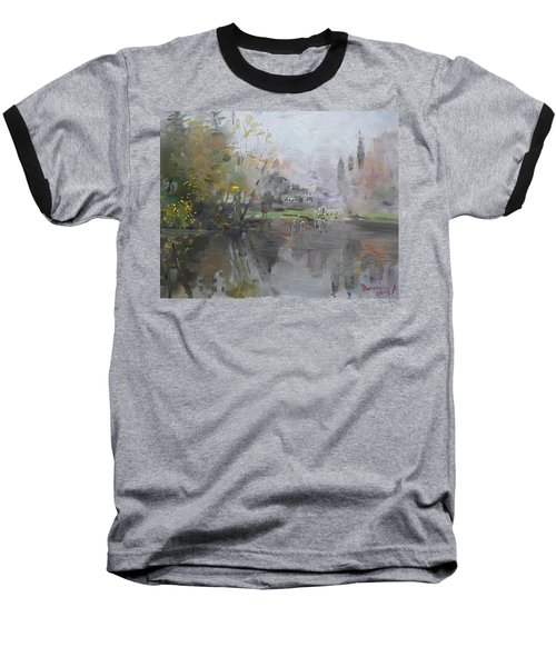 A Foggy Fall Day By The Pond  Baseball T-Shirt