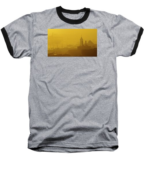 Baseball T-Shirt featuring the photograph A Foggy Golden Sunset In Honolulu Harbor by Lehua Pekelo-Stearns