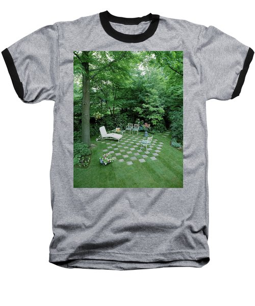 A Garden With Checkered Pavement Baseball T-Shirt
