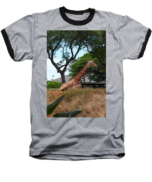 A Giraffe Rests In Honolulu Baseball T-Shirt
