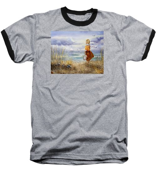 A Girl And The Ocean Baseball T-Shirt