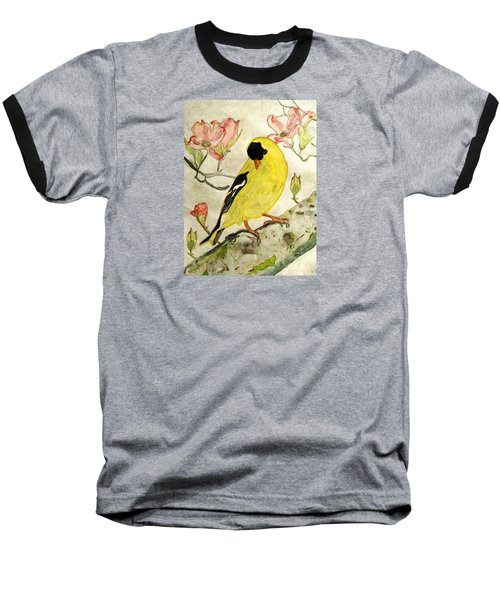 A Goldfinch Spring Baseball T-Shirt by Angela Davies