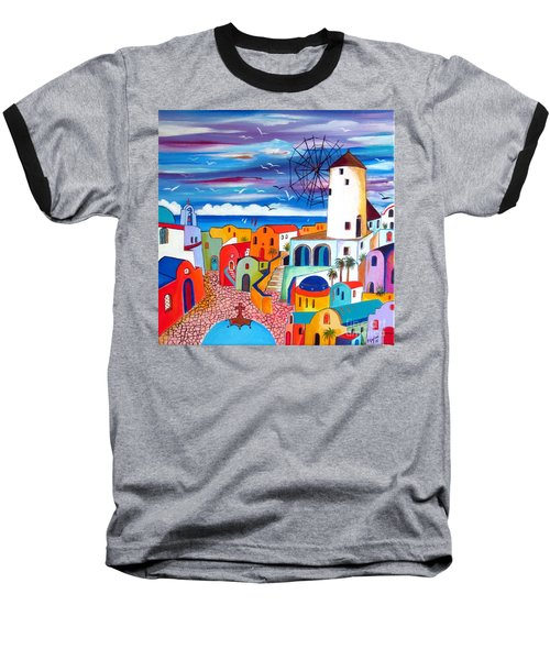 A Greek Mill And The Colors Of Oia Santorini  Baseball T-Shirt