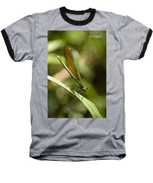 Baseball T-Shirt featuring the photograph A Green Dragonfly by Stwayne Keubrick