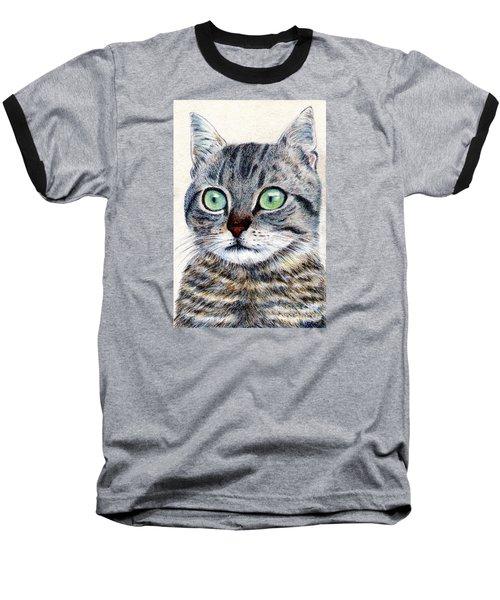 A Grey Tabby Baseball T-Shirt by Jingfen Hwu
