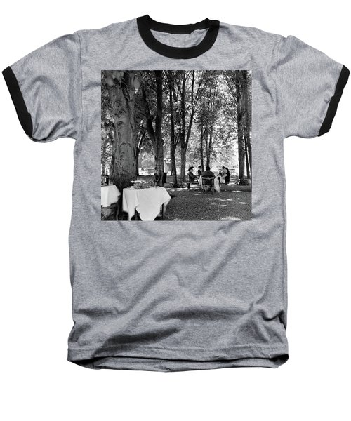 A Group Of People Eating Lunch Under Trees Baseball T-Shirt