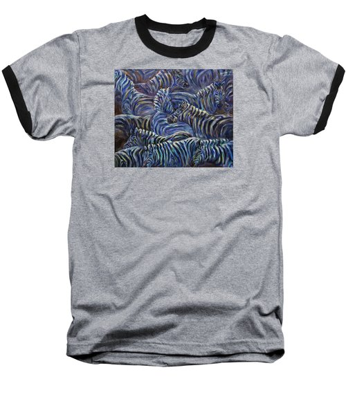 Baseball T-Shirt featuring the painting A Group Of Zebras by Xueling Zou