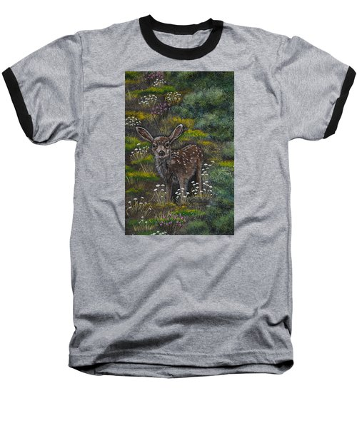 Baseball T-Shirt featuring the painting A Happy Fawn by Jennifer Lake