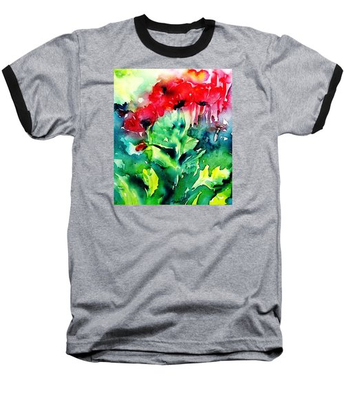 Baseball T-Shirt featuring the painting A Haze Of Poppies by Trudi Doyle