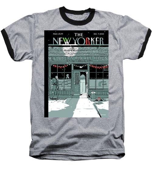 A Holiday Scene Outside The Bar Mcsorley's Baseball T-Shirt