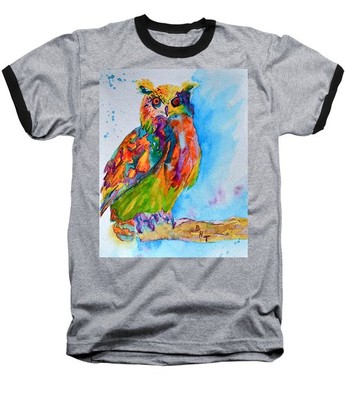 Baseball T-Shirt featuring the painting A Hootiful Moment In Time by Beverley Harper Tinsley