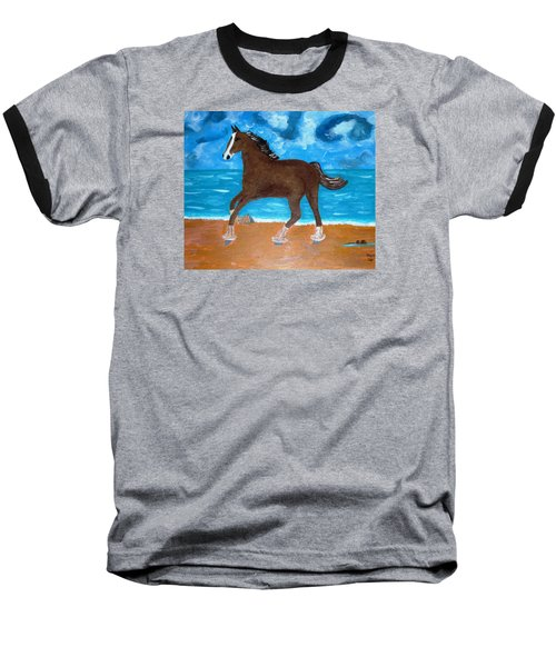 Baseball T-Shirt featuring the painting A Horse On The Beach by Magdalena Frohnsdorff