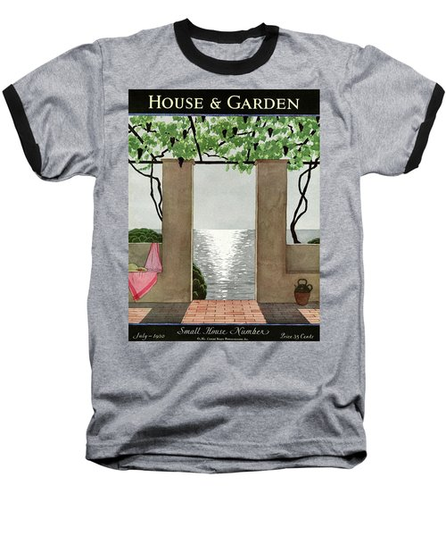 A House And Garden Cover Of A Seaside Patio Baseball T-Shirt