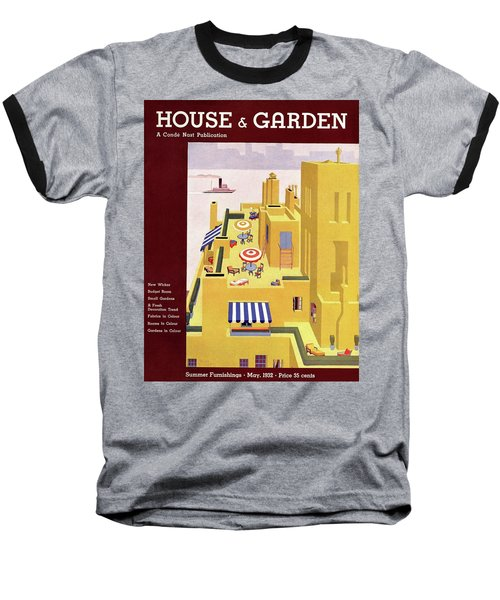 A House And Garden Cover Of An Apartment Building Baseball T-Shirt