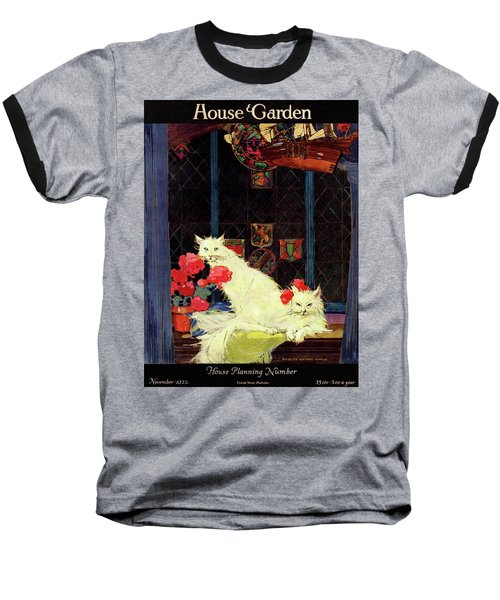 A House And Garden Cover Of White Cats Baseball T-Shirt