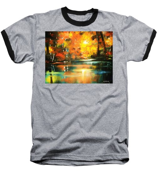 Baseball T-Shirt featuring the painting A Light In The Forest by Al Brown