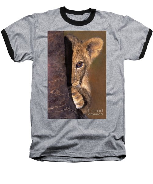 A Lion Cub Plays Hide And Seek Wildlife Rescue Baseball T-Shirt by Dave Welling