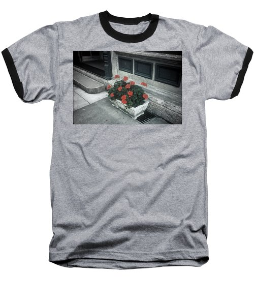 Baseball T-Shirt featuring the photograph A Little Color In A Drab World by Rodney Lee Williams